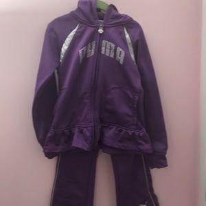Girls purple jogging suit